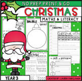 Christmas No Prep Math and Literacy - Year 3