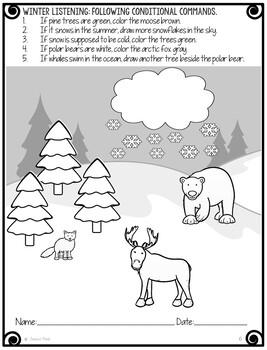 No Prep Print and Go Language Worksheets: Winter