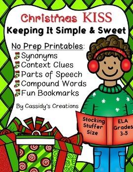Christmas No Prep Printables for Reading Grammar Vocabular