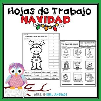 Navidad: Hojas de trabajo. Christmas Literacy Packet in Spanish