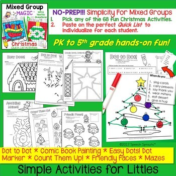 Christmas No-Prep Speech Therapy Activities with Yes-No & WH Questions