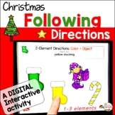 Christmas Following Directions Speech Therapy Cards & No-Print Activity