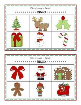 Christmas - Noël BINGO Game (English & French)