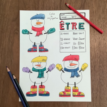 Christmas ~Noel ~French verb ETRE ~Color by verb conjugation ~NO PREP ~Etre