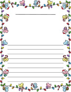 Christmas / Noël ~ Illustrated Writing Paper ~ Christmas Lights