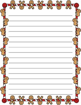 Christmas / Noël ~ Illustrated Writing Paper ~ Gingerbread Men