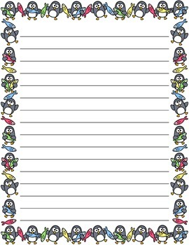 Christmas / Noël ~ Illustrated Writing Paper ~ Penguins