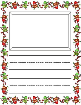 Christmas / Noël ~ Primary Illustrated Writing Pages ~ Elves
