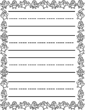 Christmas / Noël ~ Primary Illustrated Writing Paper ~ Penguin