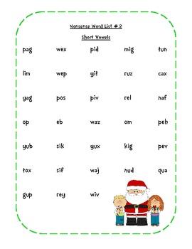 Christmas Nonsense Words