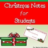 Christmas Notes - For Students From Teacher