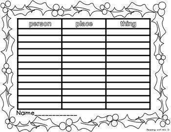 Christmas Noun Sorting Mats with Recording Sheets and Writing Activity
