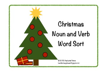 Christmas Noun Verb Word Sort