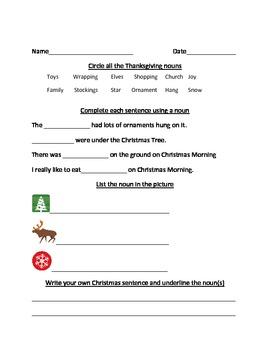 Christmas Noun Worksheet
