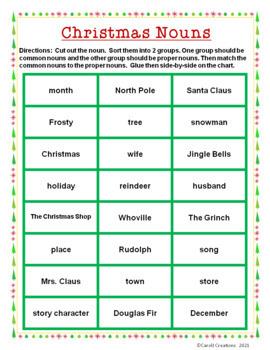 Christmas Nouns: A Common/Proper Noun Sorting Activity