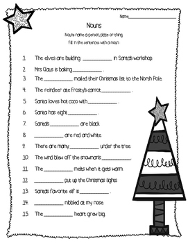 Christmas Nouns Activity Pack - Task Cards and More