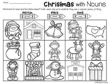 Christmas Nouns: Person, Place, Thing (Color the Picture)
