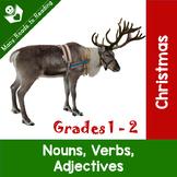 Christmas Nouns, Verbs, Adjectives Grades 1-2