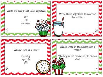 Christmas Nouns, Verbs & Adjectives Mini Unit