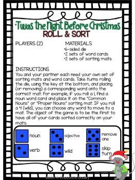 Christmas Nouns, Verbs, & Adjectives - 'Twas the Night Before Christmas Grammar