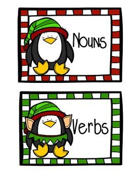 Christmas Nouns, Verbs, & Adjectives Word Sort