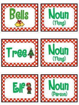 Christmas Nouns, Verbs and Adjectives Activities