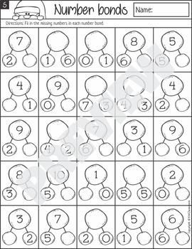 Christmas Number Bond Worksheets
