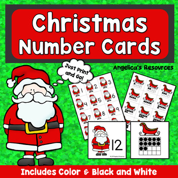 Christmas Activities : Counting and Cardinality Number Cards 1-20