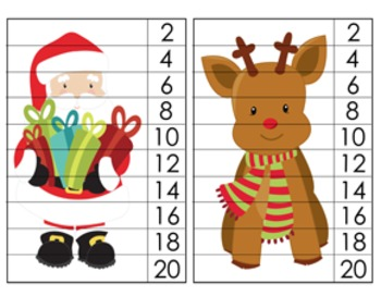 Christmas Number Counting Strip Puzzles - 5 Designs - Skip by 2