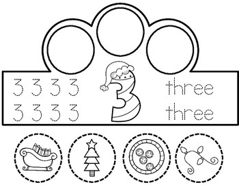 Christmas Number Crowns:  Numbers 1-10