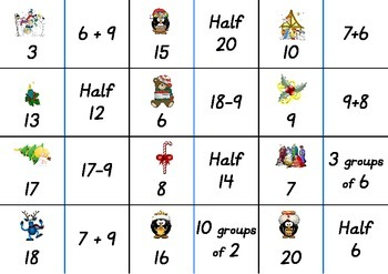 Christmas Number Fact Dominoes: Set 1 ~ Maths Game for 1st, 2nd & 3rd Grade