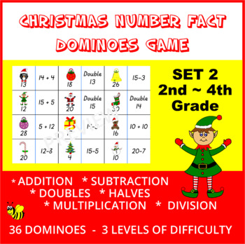 Christmas Number Fact Dominoes: Set 2 ~ Maths Game for 2nd, 3rd & 4th Grade
