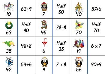 Christmas Number Fact Dominoes: Set 3 ~ Maths Game for 3rd, 4th & 5th Grade