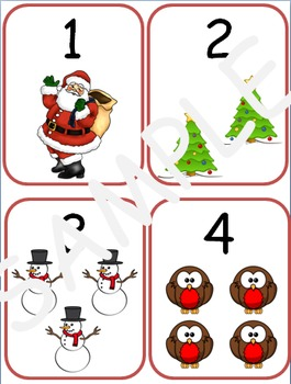 Christmas Number Flash Cards 1-10