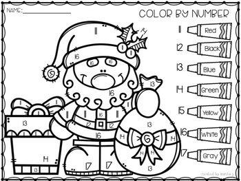 Christmas Number Identification Color-By-Number