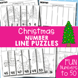 Christmas Number Line Puzzles