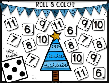 Christmas Number Line Roll and Color