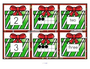 Christmas Number Matching Cards 0-10 FREE