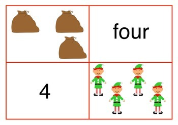 Christmas Number Matching Cards