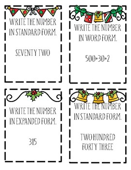 Christmas Number Names Task Cards