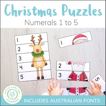 Christmas Number Puzzles - 0 to 5 - Elementary and QLD Beginners Font