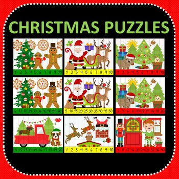 Christmas Number Puzzles - 20 Preschool Christmas Puzzles 1-10 + Times Tables