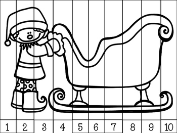 Christmas Number Puzzles: Number Identification and Sequencing