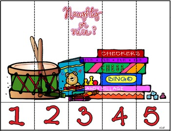 Christmas Number Puzzles Strips 1 to 5