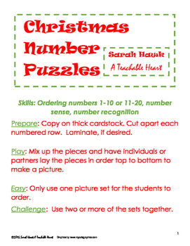 FREEBIE!  Christmas Number Puzzles for Ordering 1-10 or 11-20