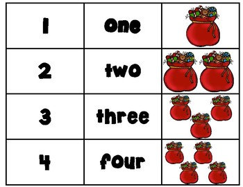 Christmas Number Recognition Cards (Numbers 1-10)
