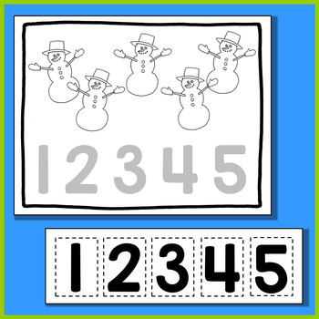 Christmas Number Scissoring 1 to 5 - A Christmas Math Center for Early Learners
