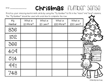 Christmas Number Sense: 10 More, 10 Less, 100 More, 100 Less