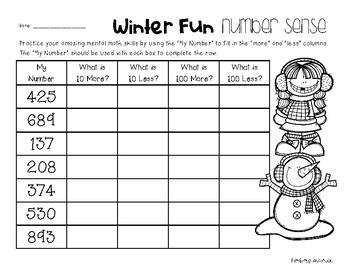 Winter Number Sense: 10 More, 10 Less, 100 More, 100 Less