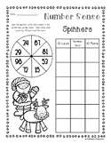 Christmas Number Sense: 10 More, 10 Less, 100 More, 100 Less Spinners